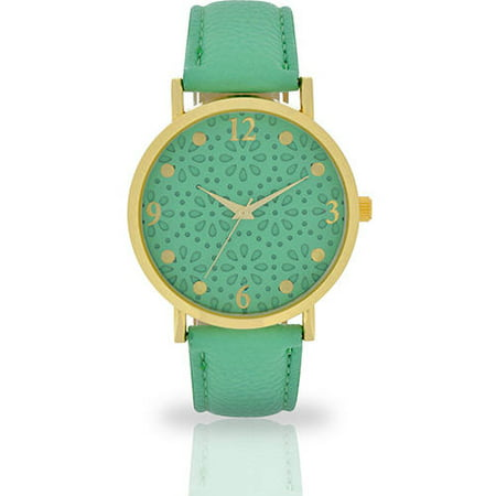 Women's Mint Textured Dial Watch, Faux Leather -