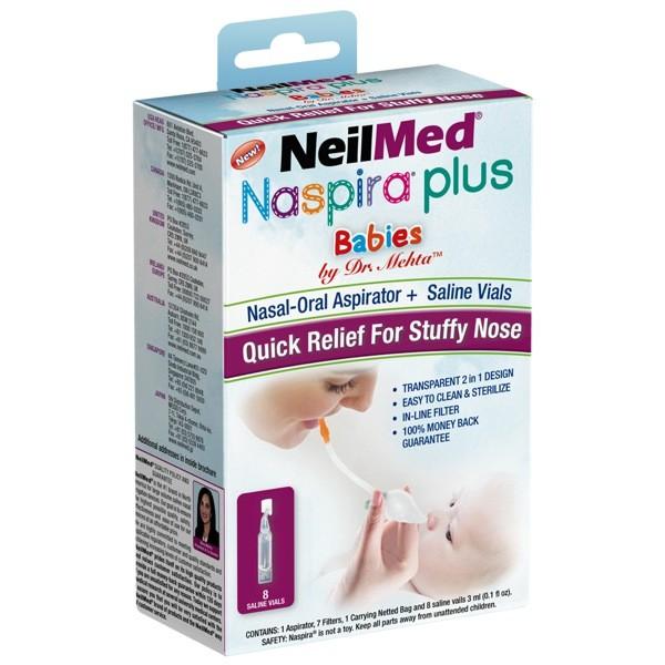 NeilMed Pharmaceuticals NeilMed Naspira Plus Nasal-Oral Aspirator & Saline Vials, 8 ea