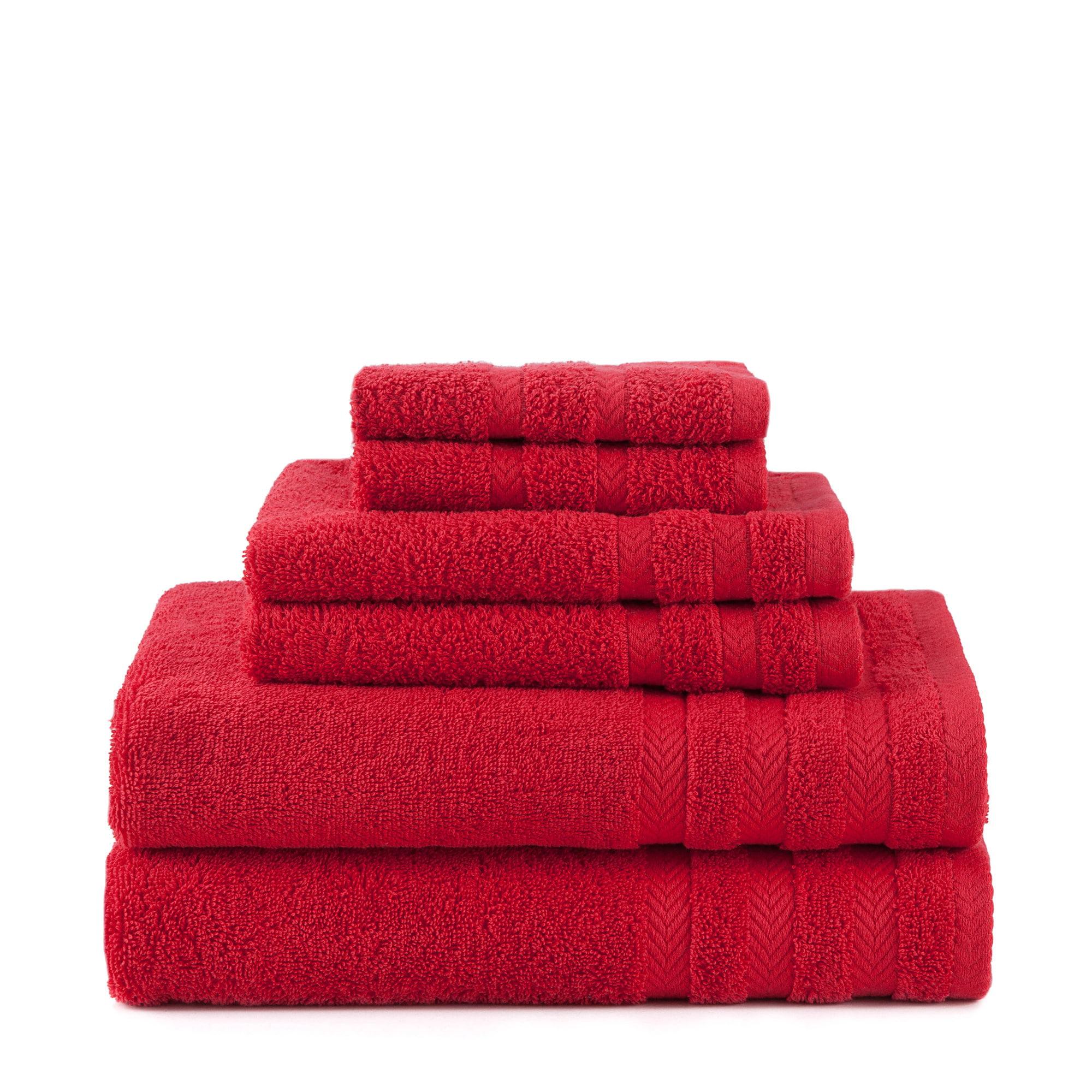 Egyptian Cotton With Dryfast 6 Piece Black Plum Towel Set