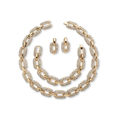 - 3 Piece Crystal Interlocking-Link Necklace, Bracelet and Drop Earrings Set in Yellow Gold Tone