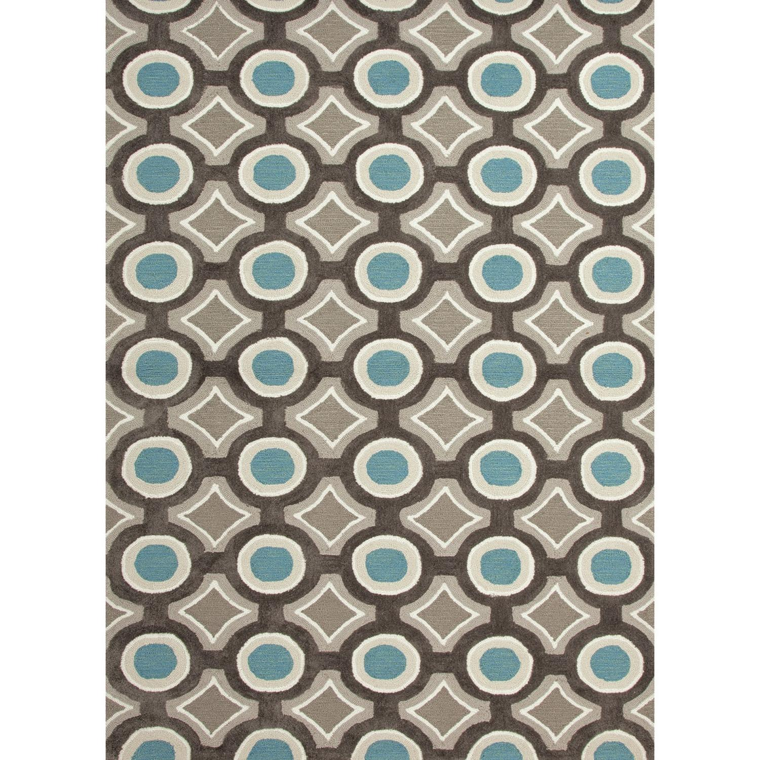 2' x 3' Blue Green, Taupe and Chocolate Brown Modern Mosaic Hand Tufted Area Throw Rug