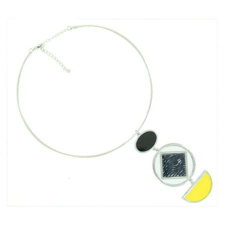 Silver Tone Geometric Black Zebra Animal Print Yellow Dangle Pendant Wire Collar