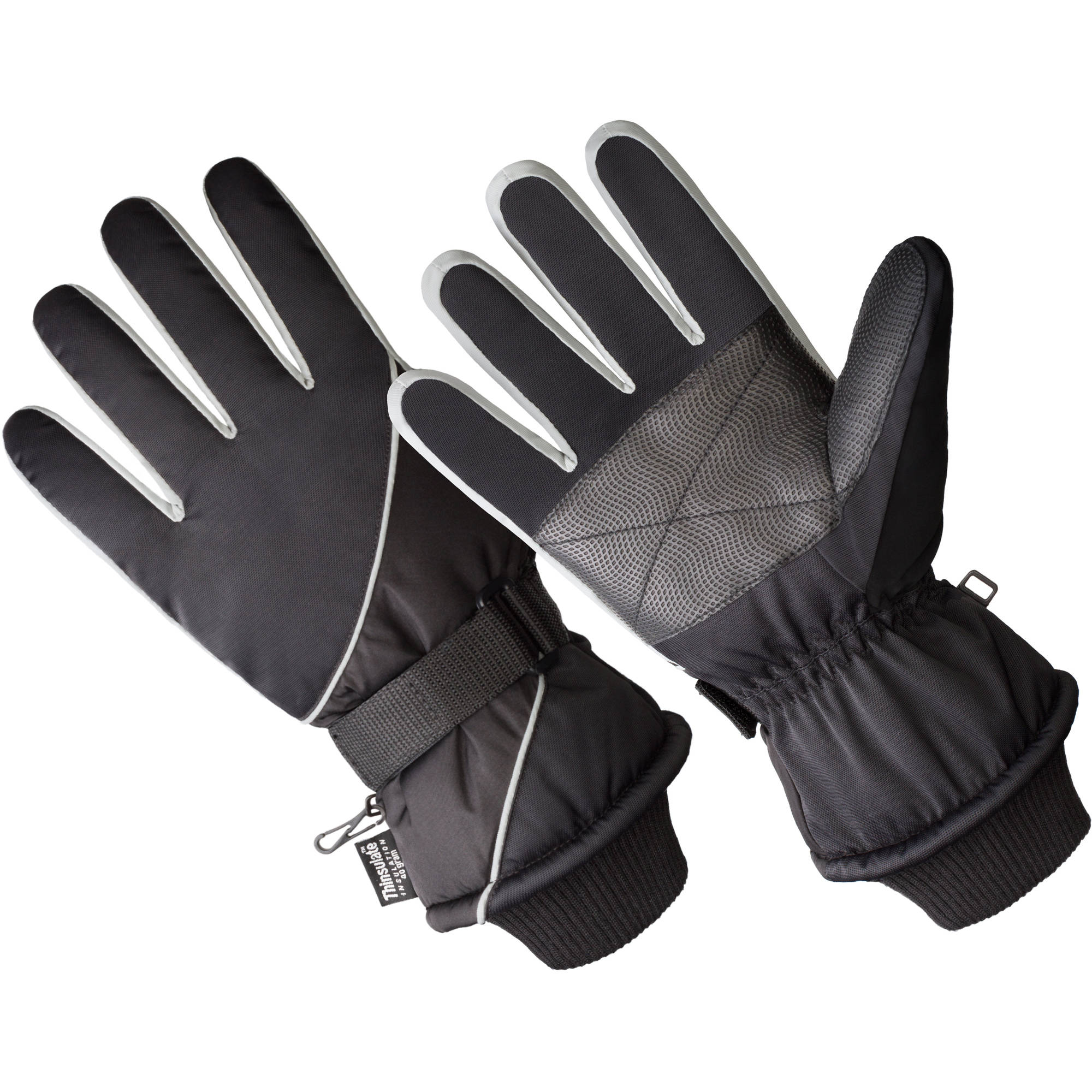 SK1012-OSFM, Men's Premium Ski Glove, 40 gm 3M Thinsulate Lined, Black/Grey (One Size Fits Most)