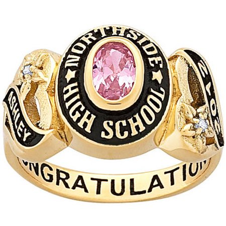 Personalized Girls Yellow Celebrium Sweetheart Class Ring With Cz Accents