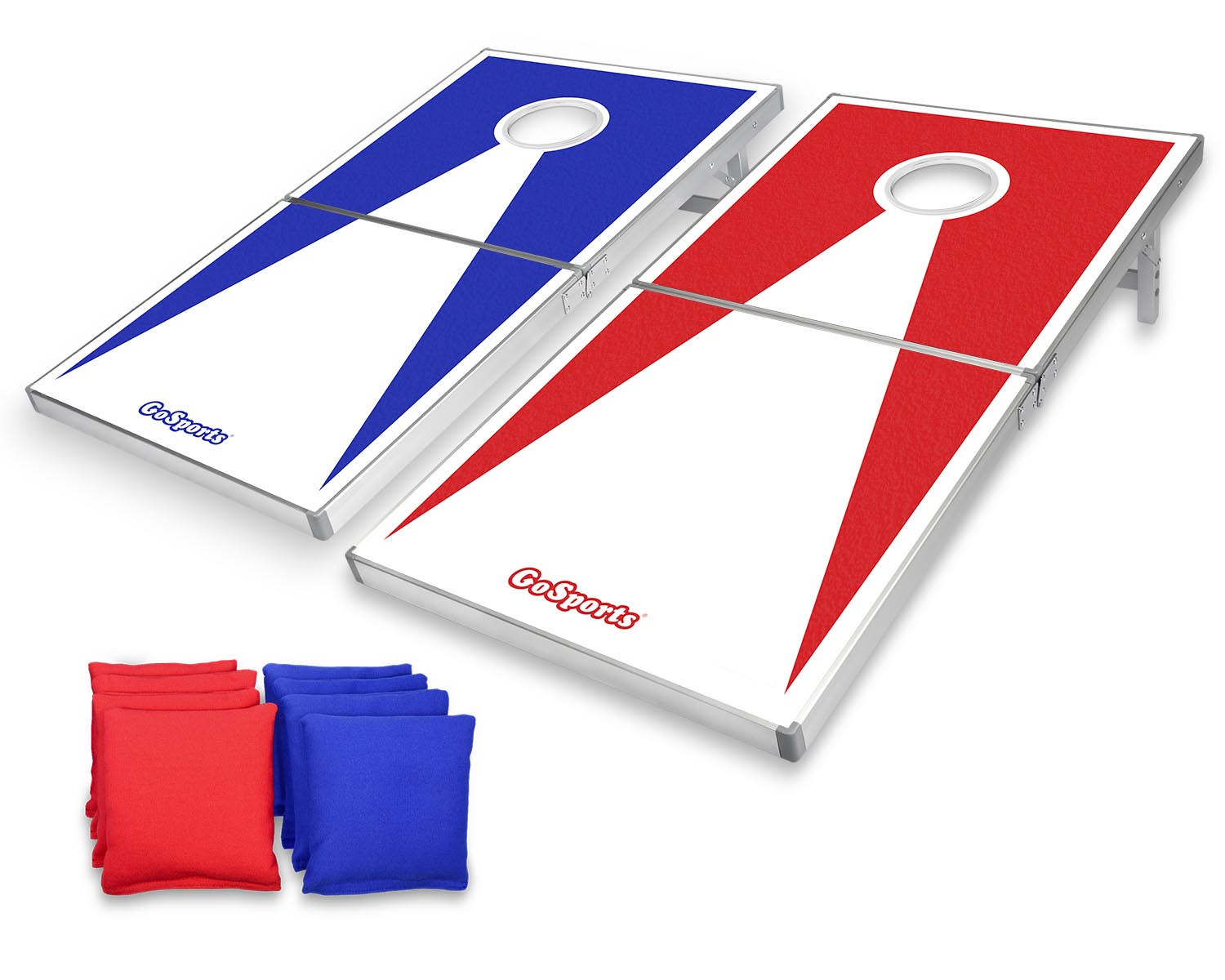 Click here to buy GoSports Foldable Cornhole Boards PRO Regulation Size Portable Beanbag Toss Game Set, Superior Aluminum Frame, Red and... by P&P Imports LLC.