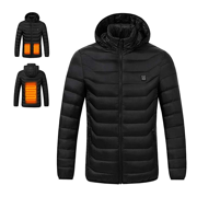 Men's USB Charging Electric Heated Coat Soft Lightweight Hooded Jacket Thermal for Outdoor Hiking Riding Camping(Black,XXL)