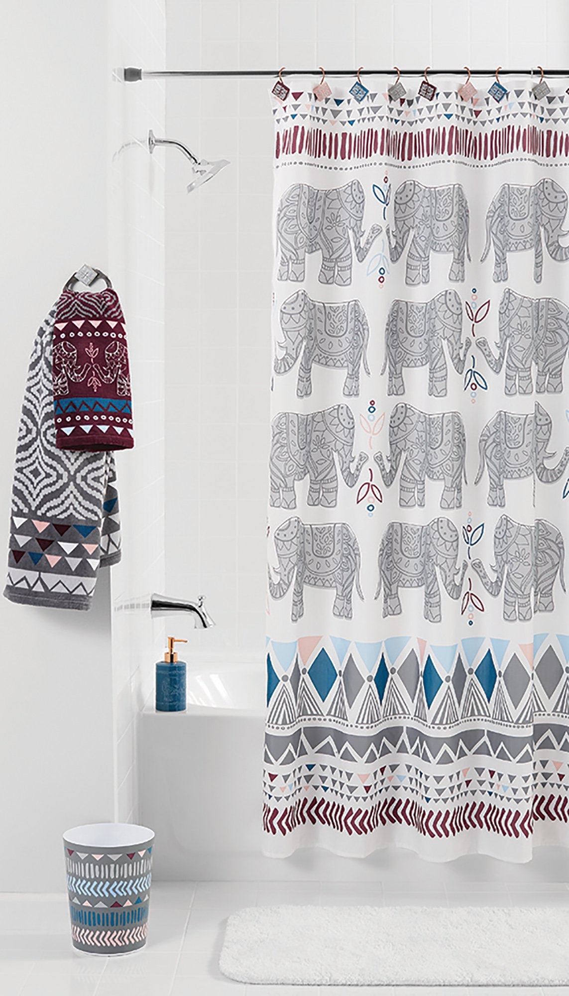 mainstays elephant shower curtain