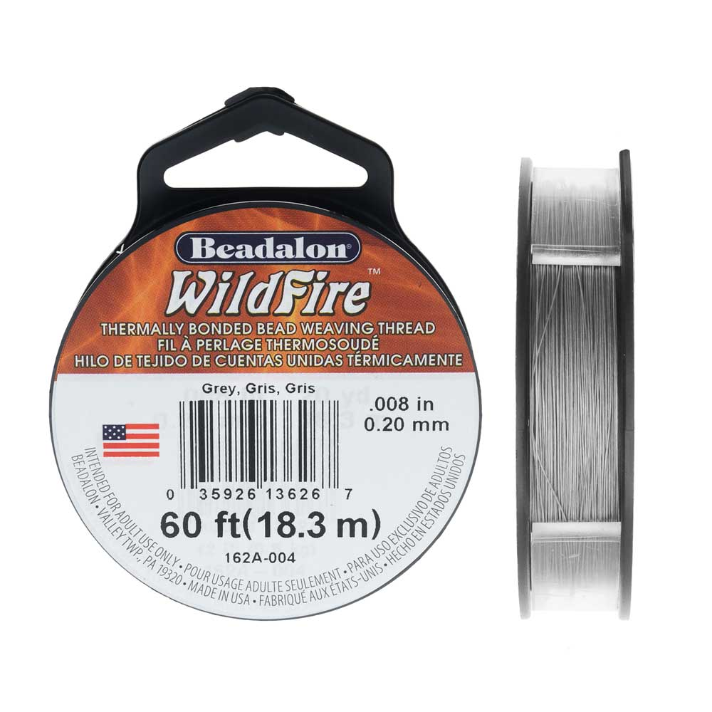 Wildfire Thermal Bonded Beading Thread, .008 Inch Thick, 20 Yard Spool, Gray
