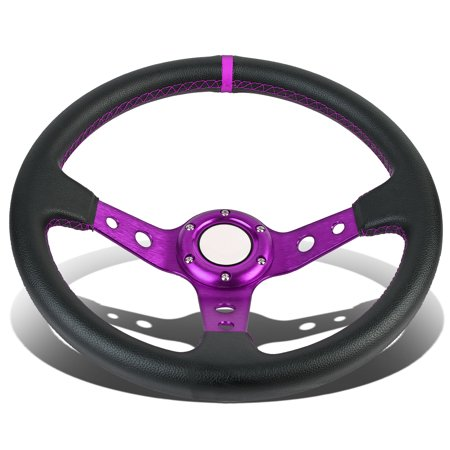 350Mm Purple 6 Bolt Spoke Purple Stitched Pvc Leather Racing Steering Wheel