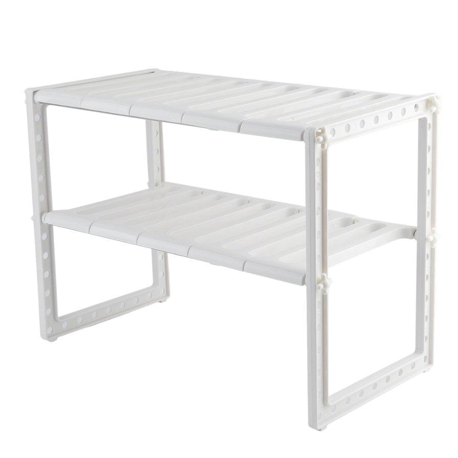 Adjustable Under Sink Cabinet Storage Counter Shelf: 2-Tire Adjustable Under Sink Cabinet Storage Counter Shelf