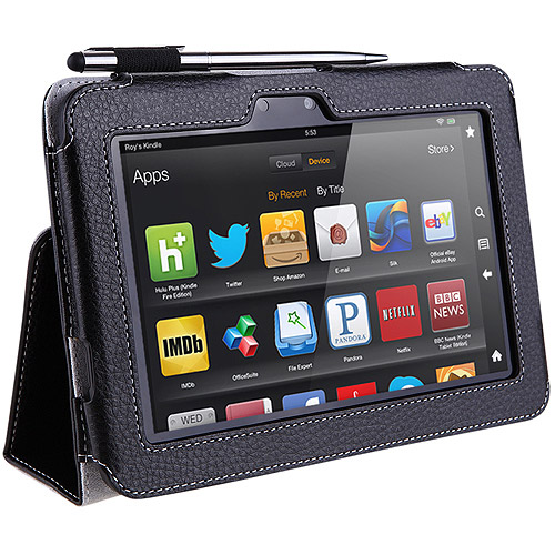 i-Blason Slim Book Kindle Fire HD 8.9 Leather Case Cover with Bonus Stylus, Black