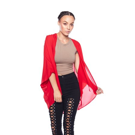 Womens Light Flowy Wash Chiffon Solid Open Cardigan Kimono ST2937-S-Red