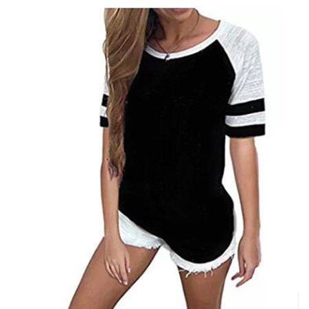 Stripe Tunic Top Shirt - Summer Blouses For Womens Casual Short Sleeve T-Shirt Casual Round Neck Tunic Tops Loose Stripe T Shirts