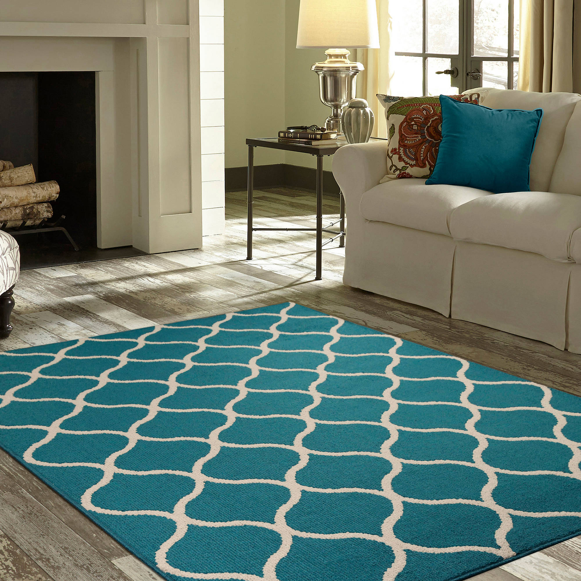 Mainstays Sheridan High Low Loop Soft Fretwork Area Rug Or