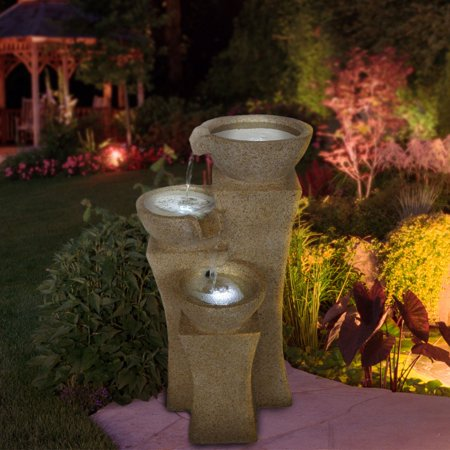 Pure Garden Cascade Bowls Outdoor Fountain with LED Lights