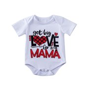 Valentine's Day Kids Baby Girl Boy Clothes Romper Bodysuit Overall Outfit Summer