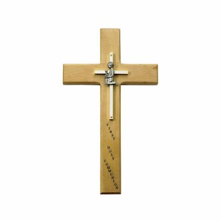 10 Inch Personalized First Communion Boy Maple Wood and Brass Wall Cross | First Holy Communion Gift | Catholic Sacramental