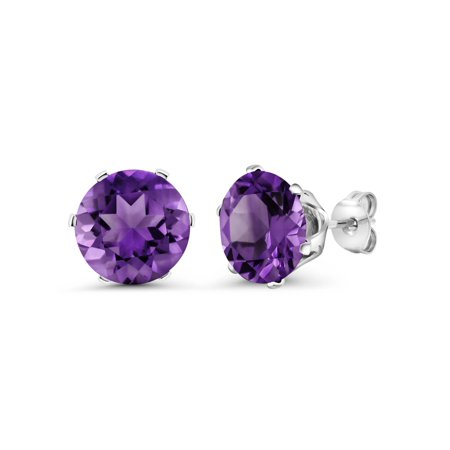 Purple February Gem - 6.00 Ct Round 10mm Purple Amethyst Gemstone Birthstone Stud Earring