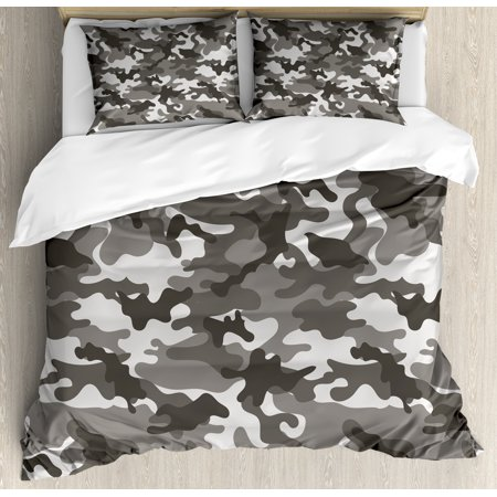 - Camouflage Duvet Cover Set, Monochrome Attire Pattern Camouflage inside Vegetation Fashion Design Print, Decorative Bedding Set with Pillow Shams, Grey Coconut, by Ambesonne
