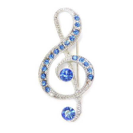 Sapphire Color Blue Crystal Treble Clef  Large Music Note Pin Brooch  C188