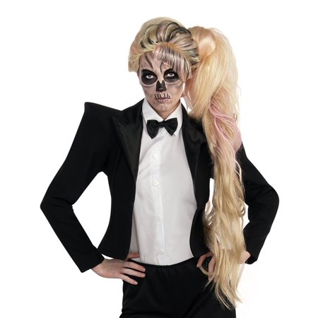 Lady Gaga Side Ponytail Wig Long Blonde & Pink Zombie Skull Face Popstar Rockstar Cute Costume Outfit Accessory Merchandise Womens Teen Girl Adult One Size - Blond Ponytail Wig