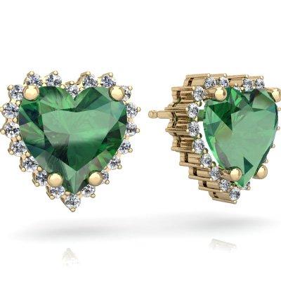 Lab Emerald Halo Heart Earrings In 14k Yellow Gold