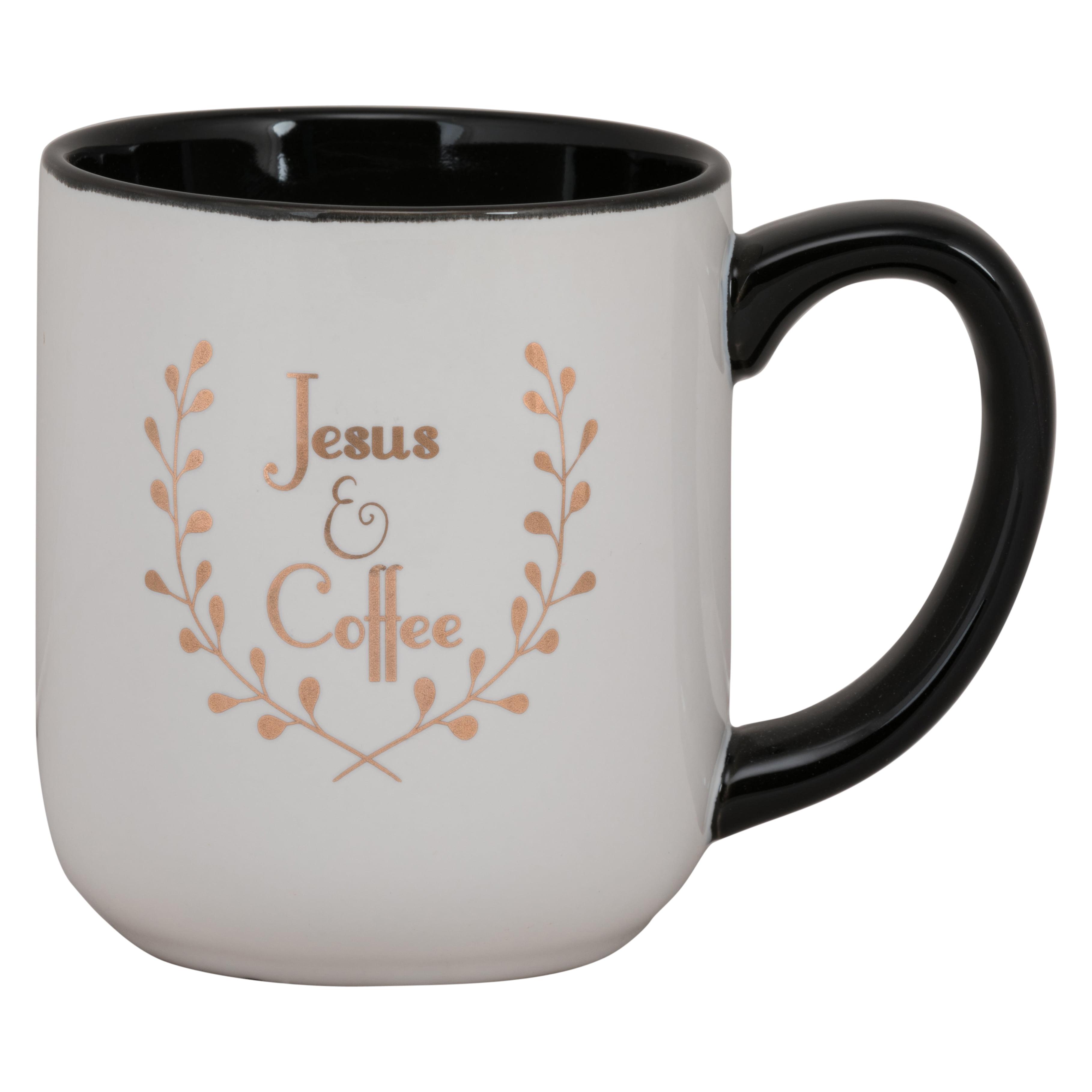 Jesus and Coffee Black Large 17.5 oz Mug