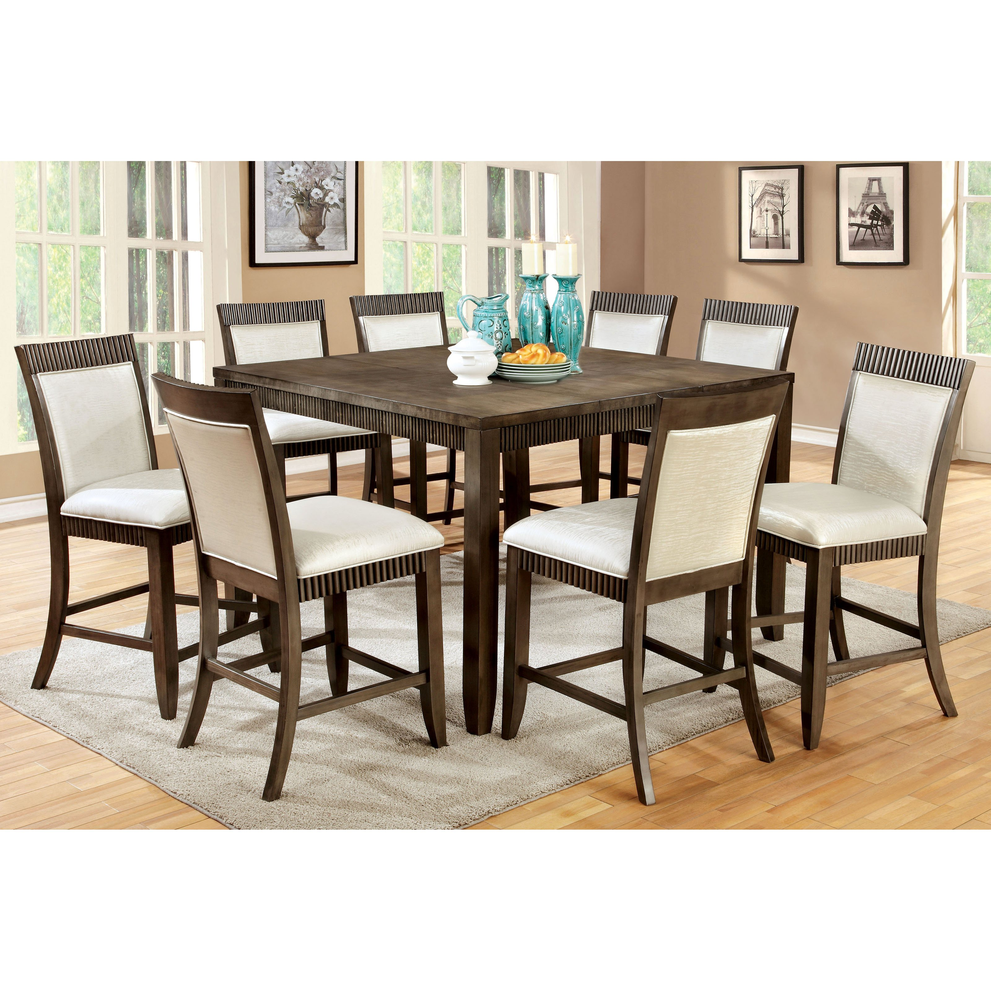 Furniture Of America Midkiff Transitional 9 Piece Counter Height Wood  Dining Table Set