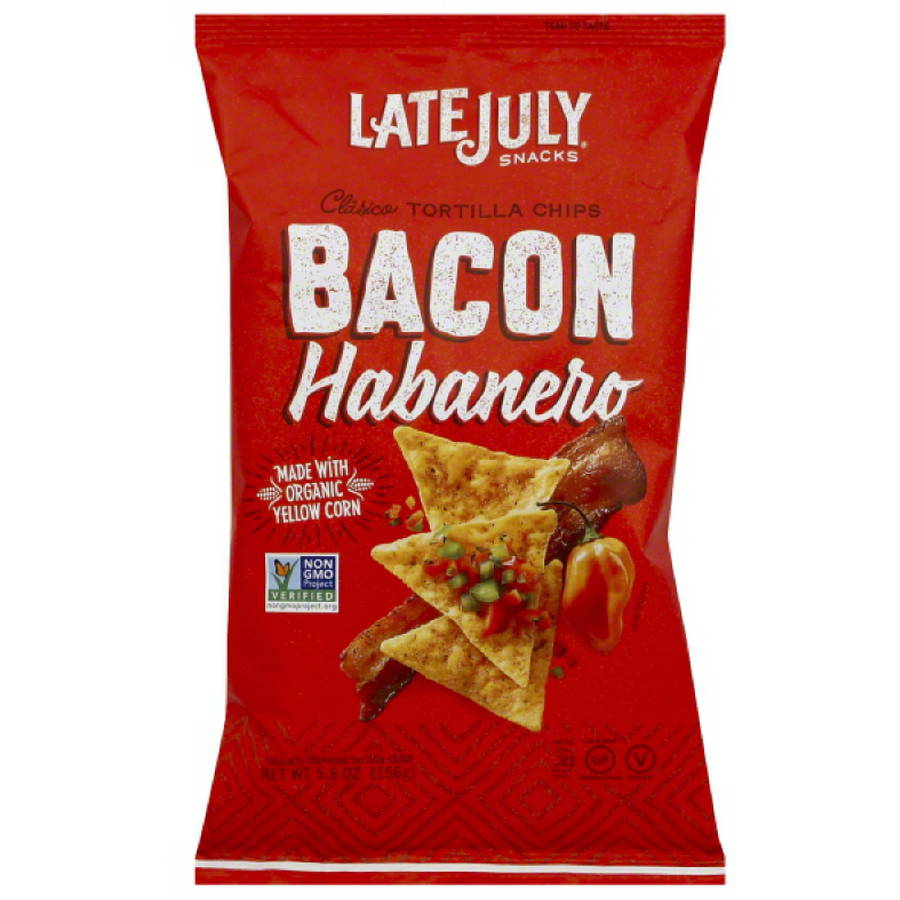 Late July Snacks Bacon Habanero Clasico Tortilla Chips, 5.5 oz, (Pack of 12)