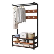 """31.5"""" x 14.6"""" x 66.9"""" Vintage Coat Rack Shoe Bench Hall Tree Entryway Storage Shelf Wood Look Accent Furniture Metal Frame 3 IN 1 Design Easy Assembly"""