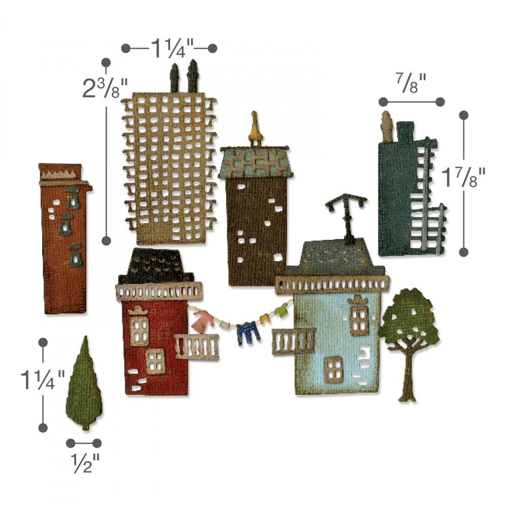 Tim Holtz Cityscape Skyline 661810: Sizzix Thinlits Dies de línea de cielo de la ciudad 2 piezas