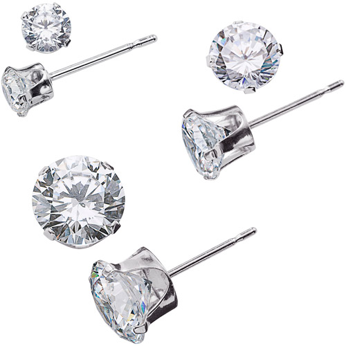 Sterling Silver 3 pair White CZ Set