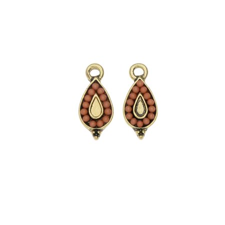 Beaded Two Piece (Zola Elements Charm, Beaded Cantaloupe Teardrop  7x15mm, 2 Pieces, Antiqued Gold Toned/Orange)