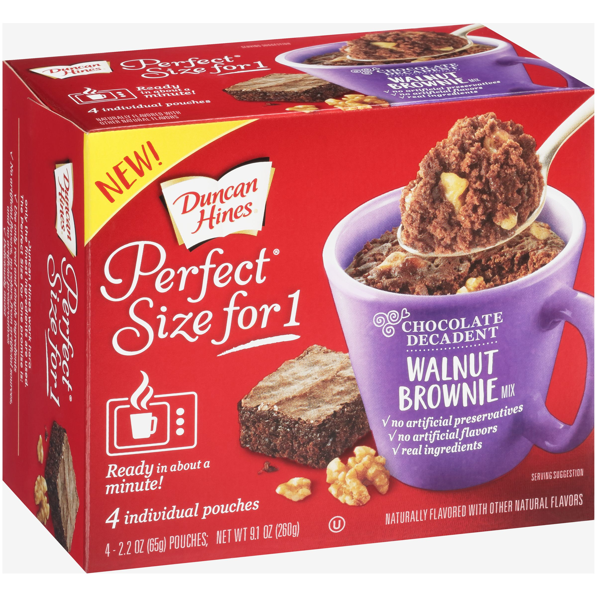 Duncan Hines® Perfect Size for 1® Chocolate Decadent Walnut Brownie Mix 4-2.2 oz. Pouches