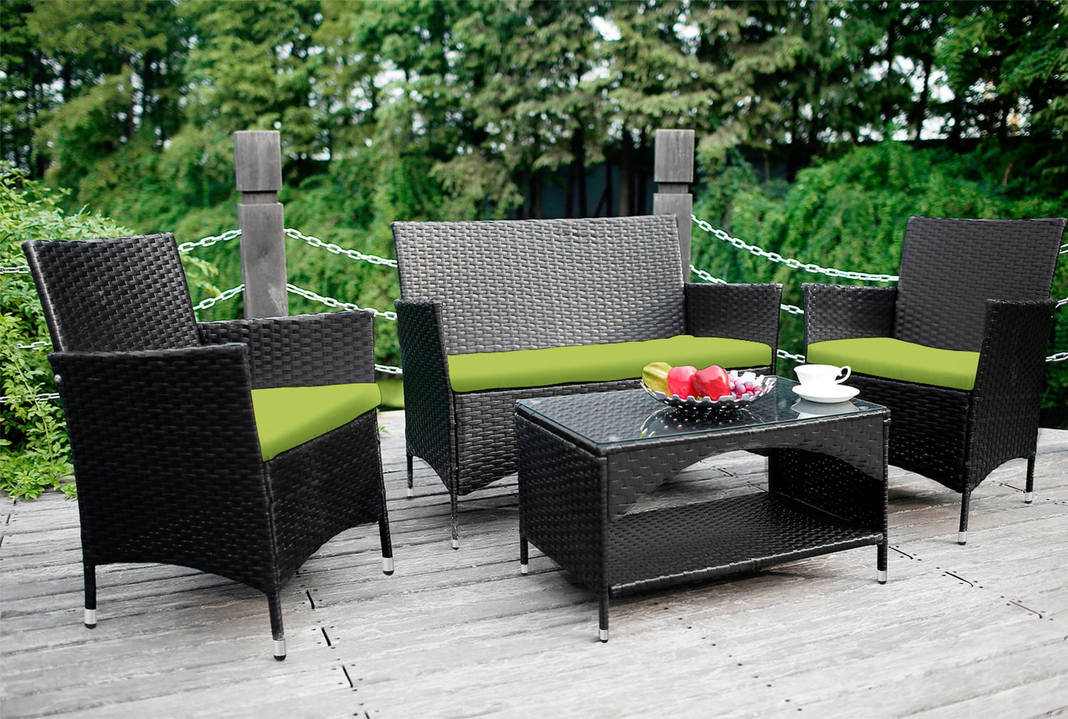 Wicker Patio Sets on Clearance, 4 Piece Outdoor Conversation Set