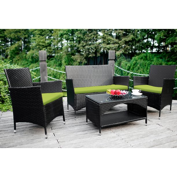 Wicker Patio Sets on Clearance, 4 Piece Outdoor Conversation Set With Glass Dining Table, Loveseat & Cushioned Wicker Chairs, Modern Rattan Patio Furniture Sets for Yard, Porch, Garden, Pool, L3122