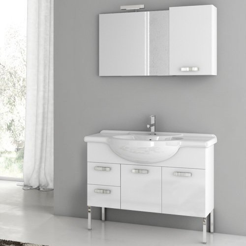 ACF by Nameeks ACF PH04-GW Phinex 39-in. Single Bathroom Vanity Set - Glossy White