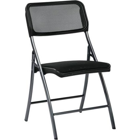Office Star Folding Chair with Screen Seat and Back, Ships 2 Per Carton, Multiple Colors