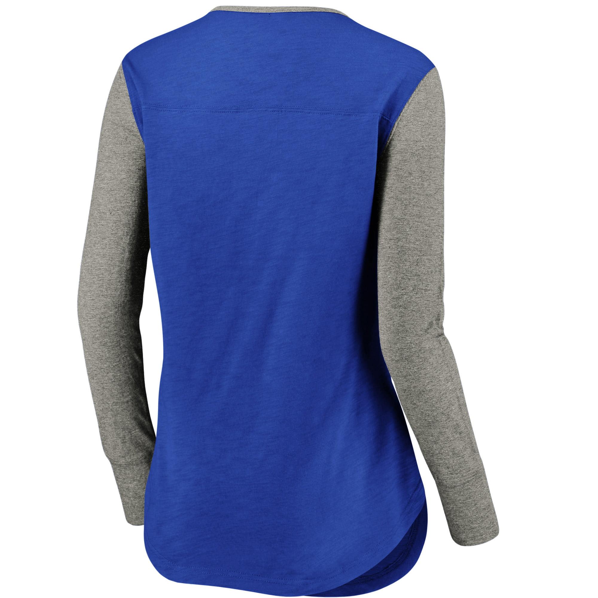 c51847dc4 Chicago Cubs Fanatics Branded Women s Plus Size True Classics Long Sleeve  Stripe Henley T-Shirt - Royal Gray - Walmart.com