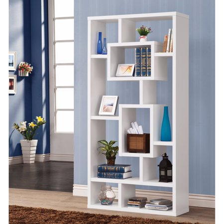 Fantastic Geometric Cubed Rectangular Bookcase, White