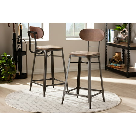 Set of 2 Baxton Studio Varek Vintage Rustic Industrial Style Bamboo and Rust-Finished Steel Stackable Bar Stool Set