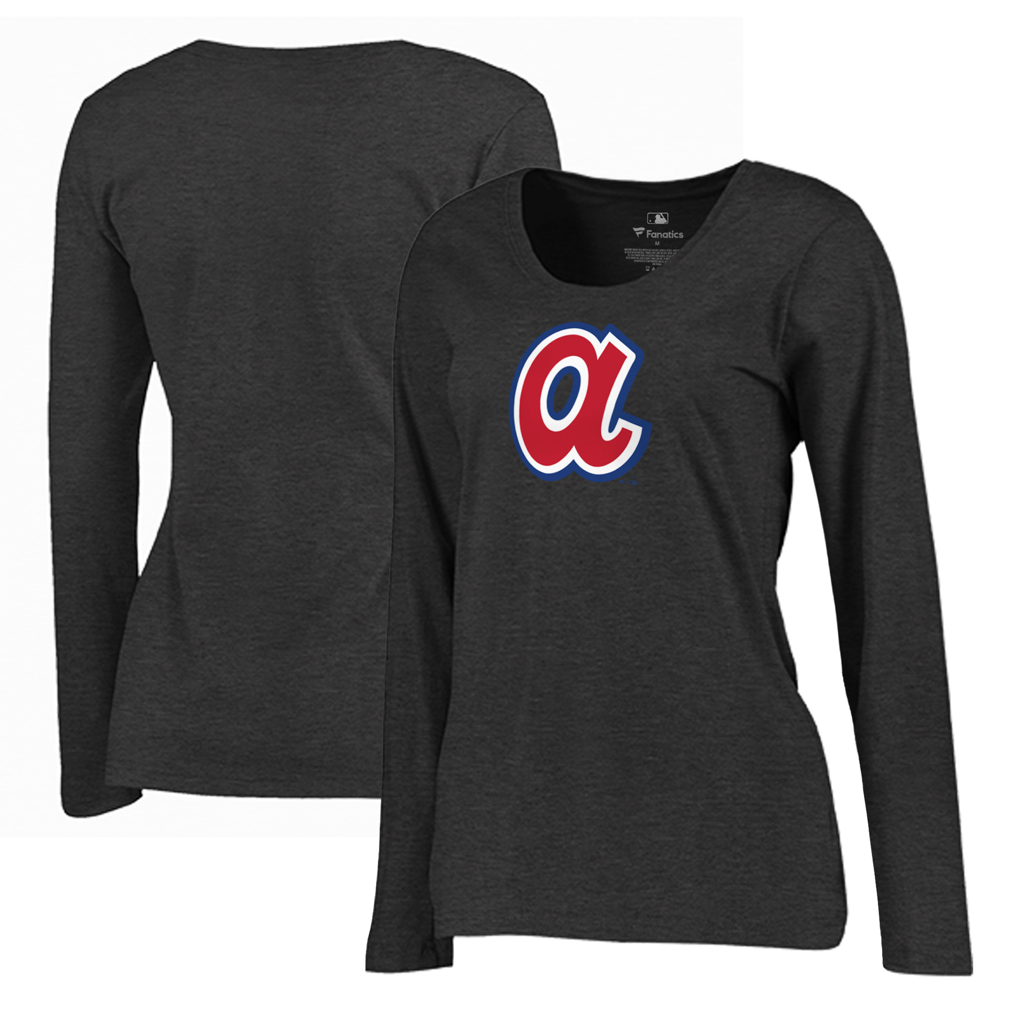 Atlanta Braves Fanatics Branded Women's Plus Size Cooperstown Collection Huntington Long Sleeve T-Shirt - Heathered Gray