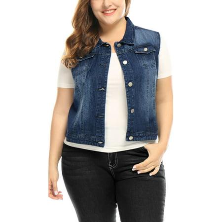 Unique Bargains - Women Plus Size Chest Pockets Denim Vest Blue 1X ...