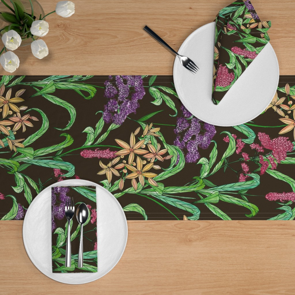 Botanical Garden Table Runner Whiteflowergardenii by susanna/_nousiainen Floral  Ditsy Nature  Cotton Sateen Table Runner by Spoonflower
