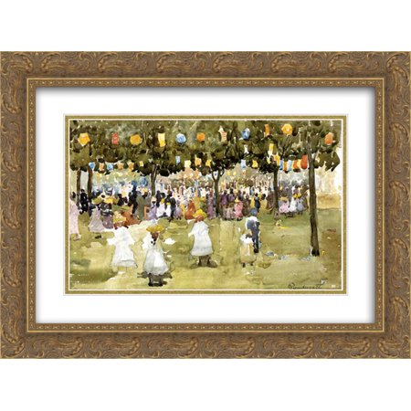 Maurice Prendergast 2x Matted 24x18 Gold Ornate Framed Art Print 'Central Park, New York City, July -