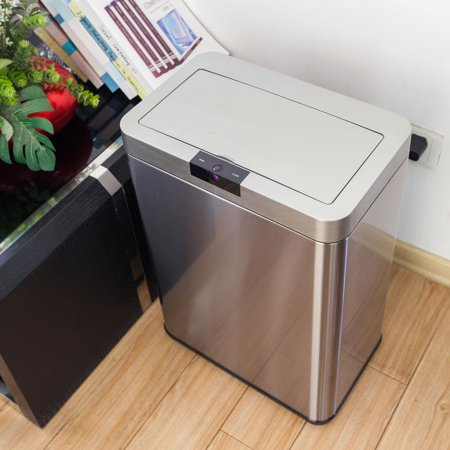 Ktaxon 13 Gallon Trash Can, Touchless Sensor Garbage Bin, with Lid, for Home Kitchen Living Room, Stainless Steel ()