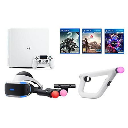 PlayStation VR Launch Bundle 3 Items: VR Launch Bundle,PSVR Aim Controller  Farpoint Bundle, Playstation 4 Pro 1TB Console - Destiny 2 Bundle