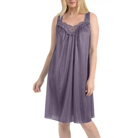 Long Sleeveless Nightgown (Women's Faux Silk and Lace Sleeveless Nightgown By EZI )