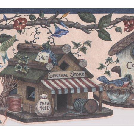 - Birds Birdhouses Fantasy Wallpaper Border Retro Design, Roll 15' x 9''