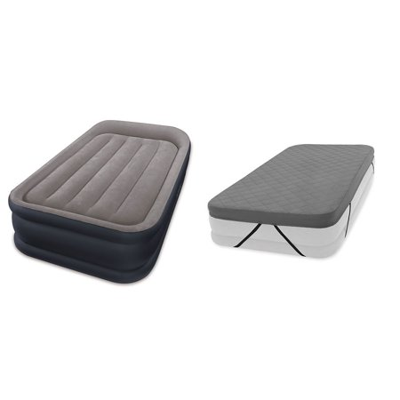Intex Deluxe Pillow Rest Raised Airbed Mattress with Built in Pump, Twin & Cover